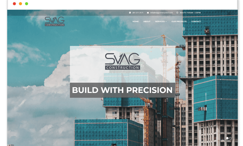 svag construction website Design and web Develop by saintcode Vancouver Canada