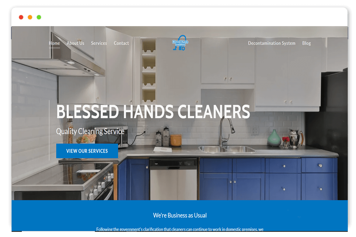 blessed hands cleaners website Design and web Develop by saintcode Vancouver Canada