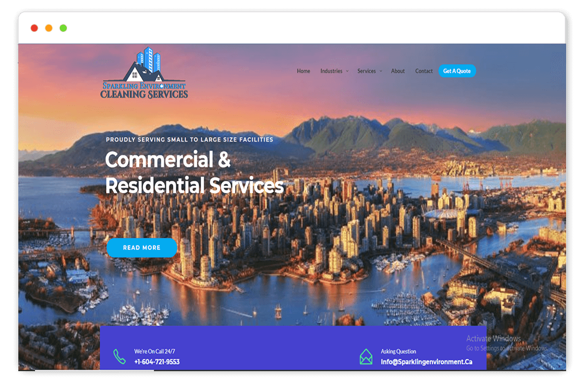 sparkling environment website Design and web Develop by saintcode Vancouver Canada