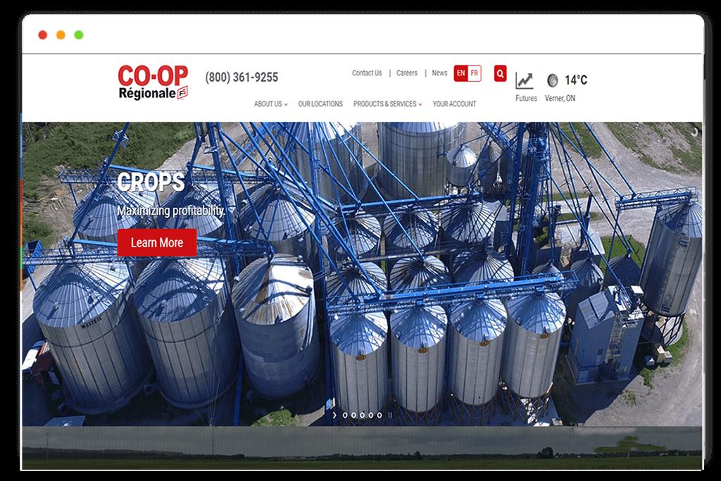 co op regionale website Design and web Develop by saintcode Vancouver Canada