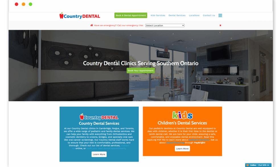 country dental website Design and web Develop by saintcode Vancouver Canada