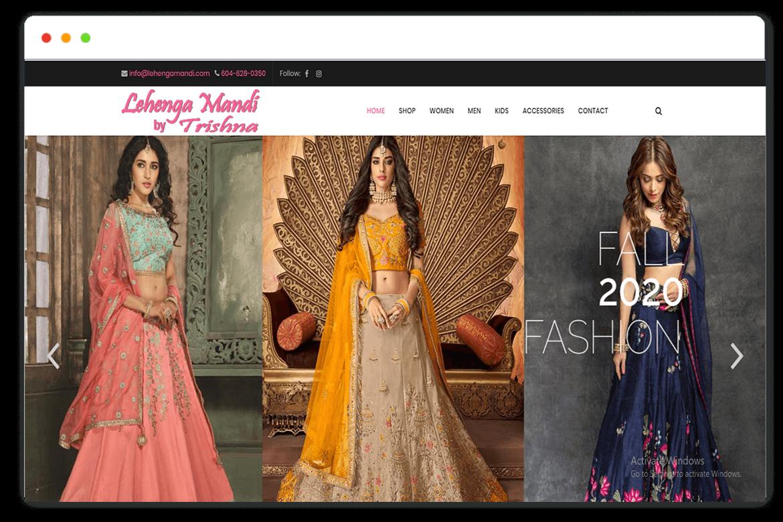 lehenga mandi website Design and web Develop by saintcode Vancouver Canada