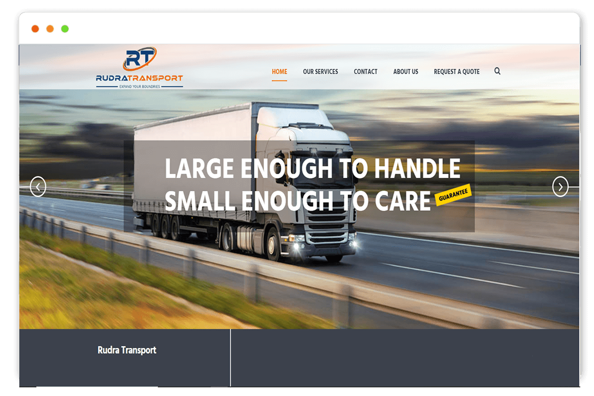 Rudra transport website Design and web Develop by saintcode Vancouver Canada